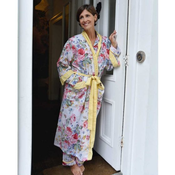 Floral Dressing Gown With Lemon Pom Pom Trims