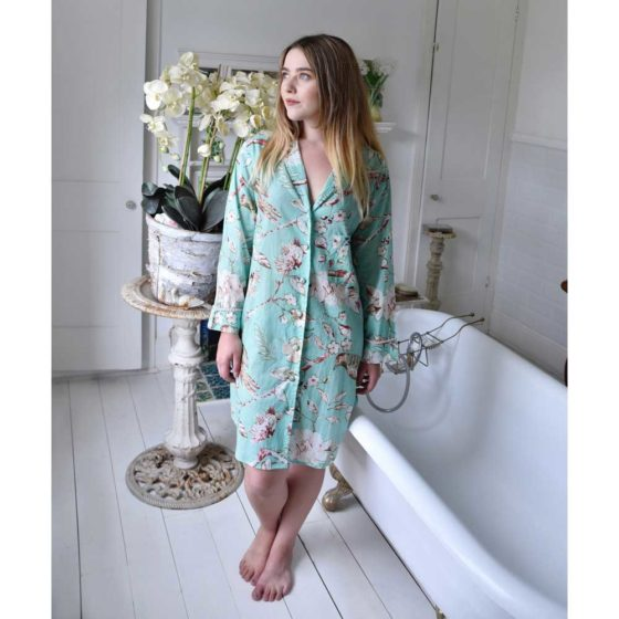Mint Blossom Print Nightshirt With Pink Pom Pom Trims
