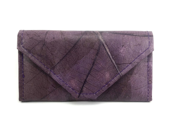 Handmade leaf leather wallet and cards holder for women - Dark purple
