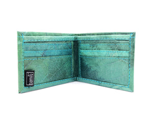 Handmade leaf leather wallet and cards holder for men - Turquoise