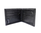 Handmade leaf leather wallet and cards holder for men - Black