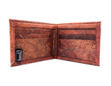Handmade leaf leather wallet and cards holder for men - Brown