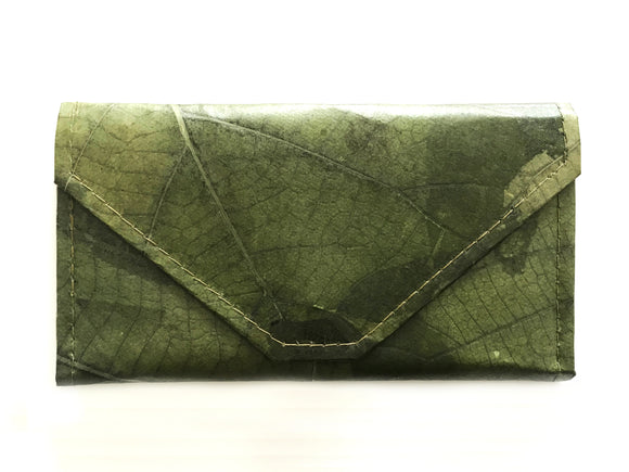 Handmade leaf leather wallet and cards holder for women - Dark green