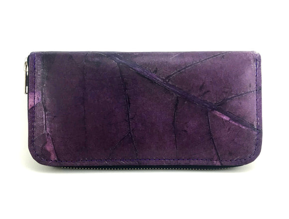 Handmade leaf leather wallet cards&coins holder for women - Dark purple zip wallet