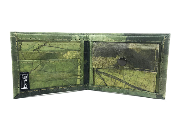 Handmade leaf leather wallet cards&coins holder for men - Green