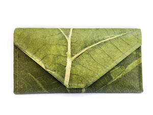 Handmade leaf leather wallet and cards holder for women - Green