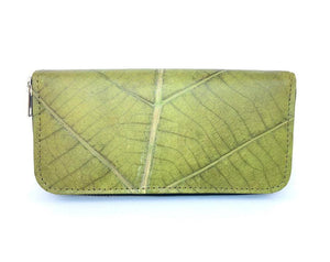 Handmade leaf leather wallet cards&coins holder for women - Green zip wallet