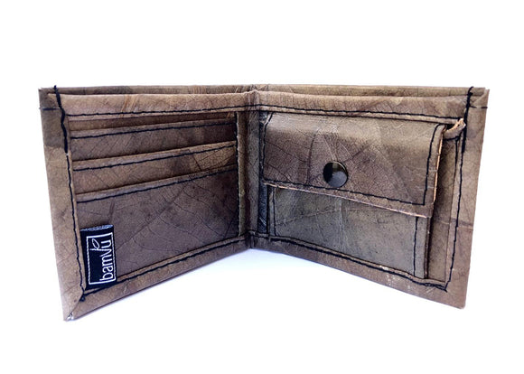 Handmade leaf leather wallet cards&coins holder for men - Grey