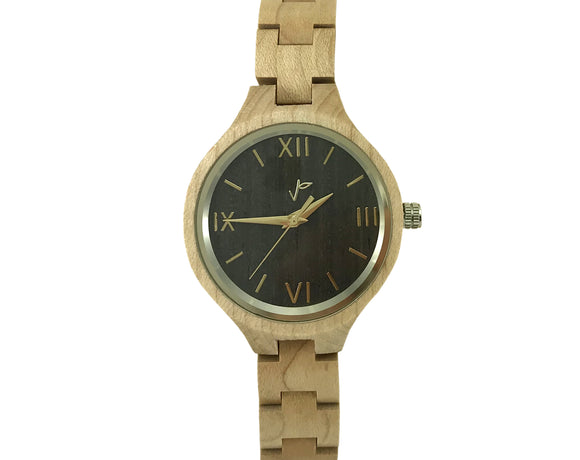 Handmade maple wooden watch for women
