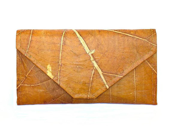 Handmade leaf leather wallet and cards holder for women - Orange