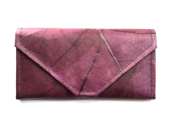Handmade leaf leather wallet and cards holder for women - Purple