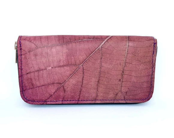 Handmade leaf leather wallet cards&coins holder for women - Purple zip wallet