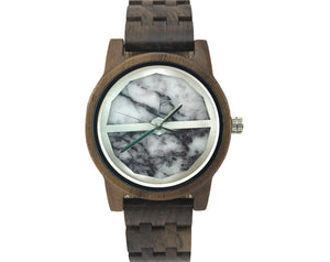 Handmade walnut wooden watch with  marble dial