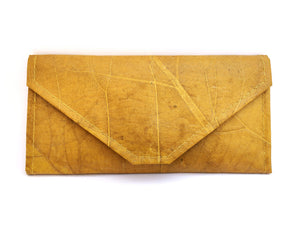 Handmade leaf leather wallet and cards holder for women - Yellow
