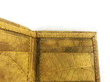 Handmade leaf leather wallet and cards holder for men - Yellow