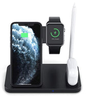 4 in 1 kabelloser schnell Ladestation für iPhone, Watch, Pencil, AirPods schwarz