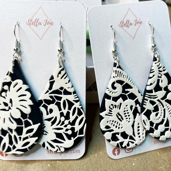 White lace on black teardrop dangles