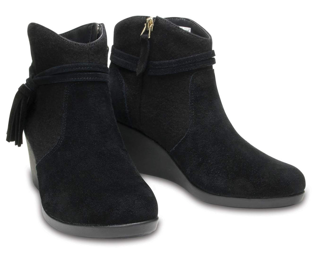 Load image into Gallery viewer, Crocs Leigh Suede Mix Bootie W Black-001