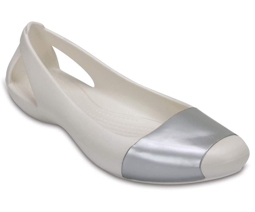 Load image into Gallery viewer, Crocs Sienna Shiny Flat W Oyster/Silver-12V