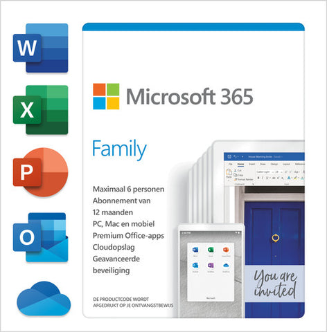 Microsoft 365 Family (6 PC OR MAC Licenses / 12-Months Subscription / Download)