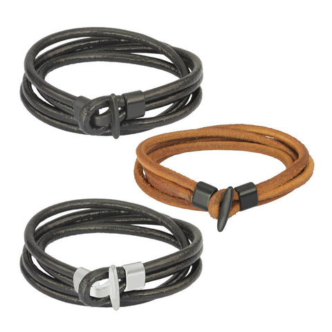 MBSS22 LEATHER BRACELET WITH STAINLESS STEEL CLOSURE