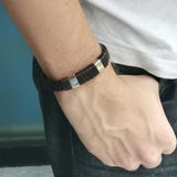 MBSS24 LEATHER BRACELET WITH STAINLESS STEEL CLOSURE