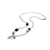 NSLD21 STAINLESS STEEL NECKLACE PEARL ONYX