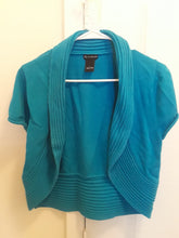 Load image into Gallery viewer, Women's Short Sleeve Teal Cardigan