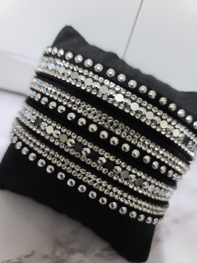 Black Suede and Silver Snap Bracelet