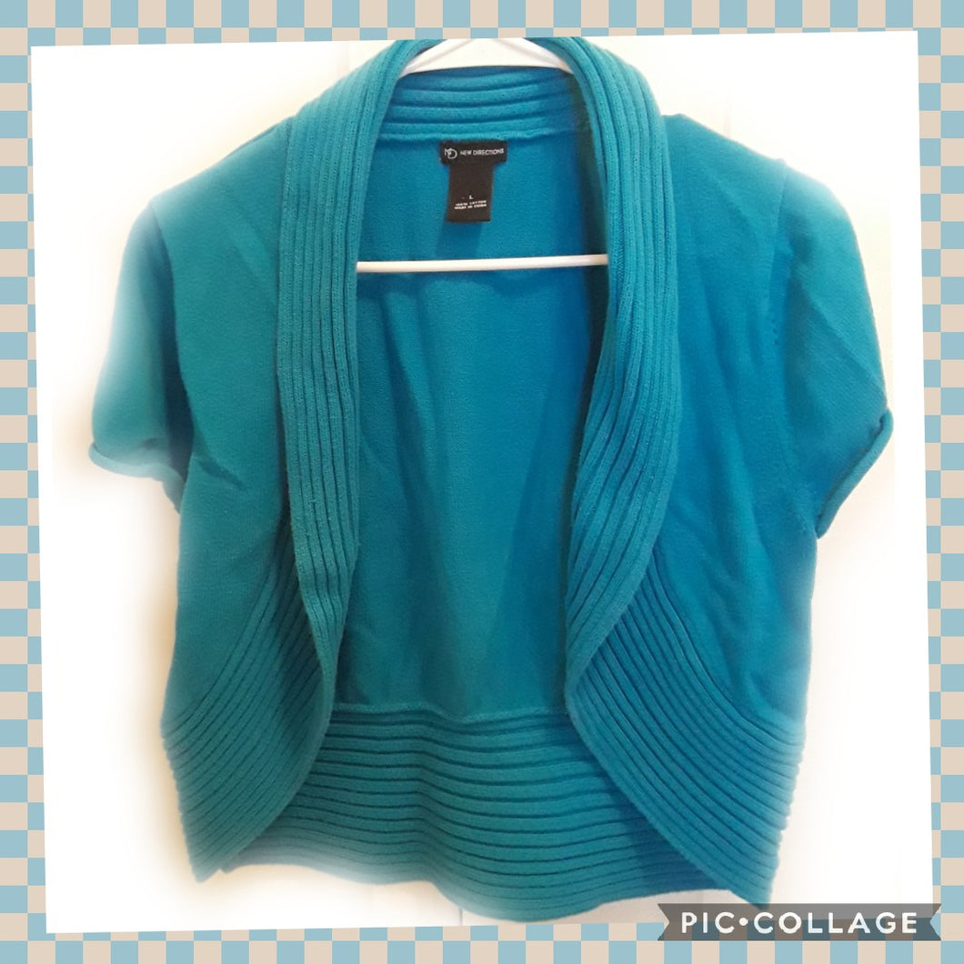 Women's Short Sleeve Teal Cardigan