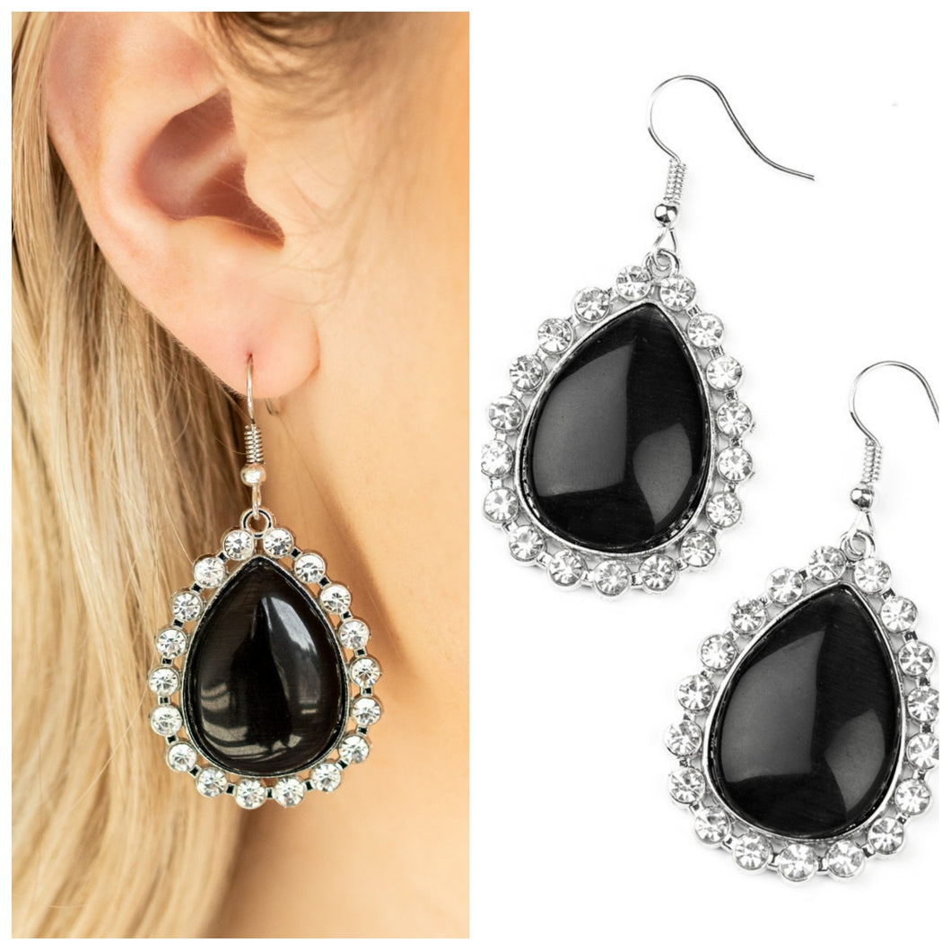 Black and Rhinestone Earrings