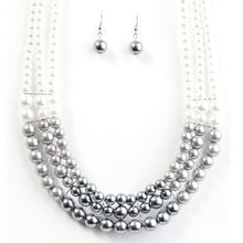 Load image into Gallery viewer, Pearl and Gray Necklace Set