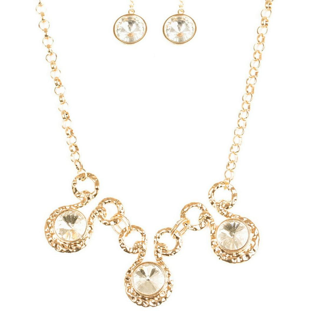 Gold 3 Circle Necklace Set