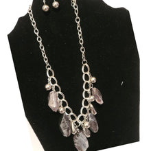 Load image into Gallery viewer, Silver and Gray Stone Necklace Set