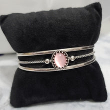 Load image into Gallery viewer, Light Pink and Silver Cuff Bracelet