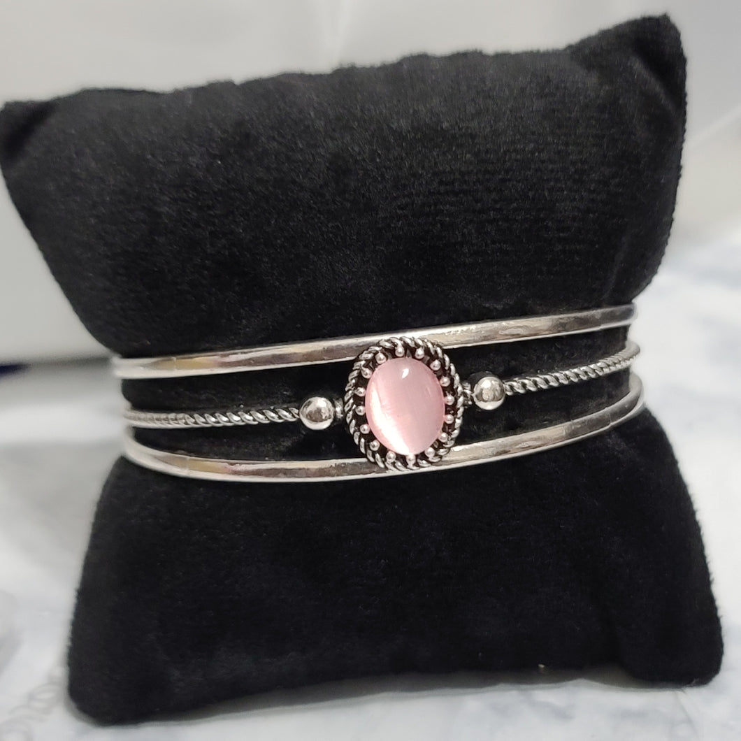 Light Pink and Silver Cuff Bracelet