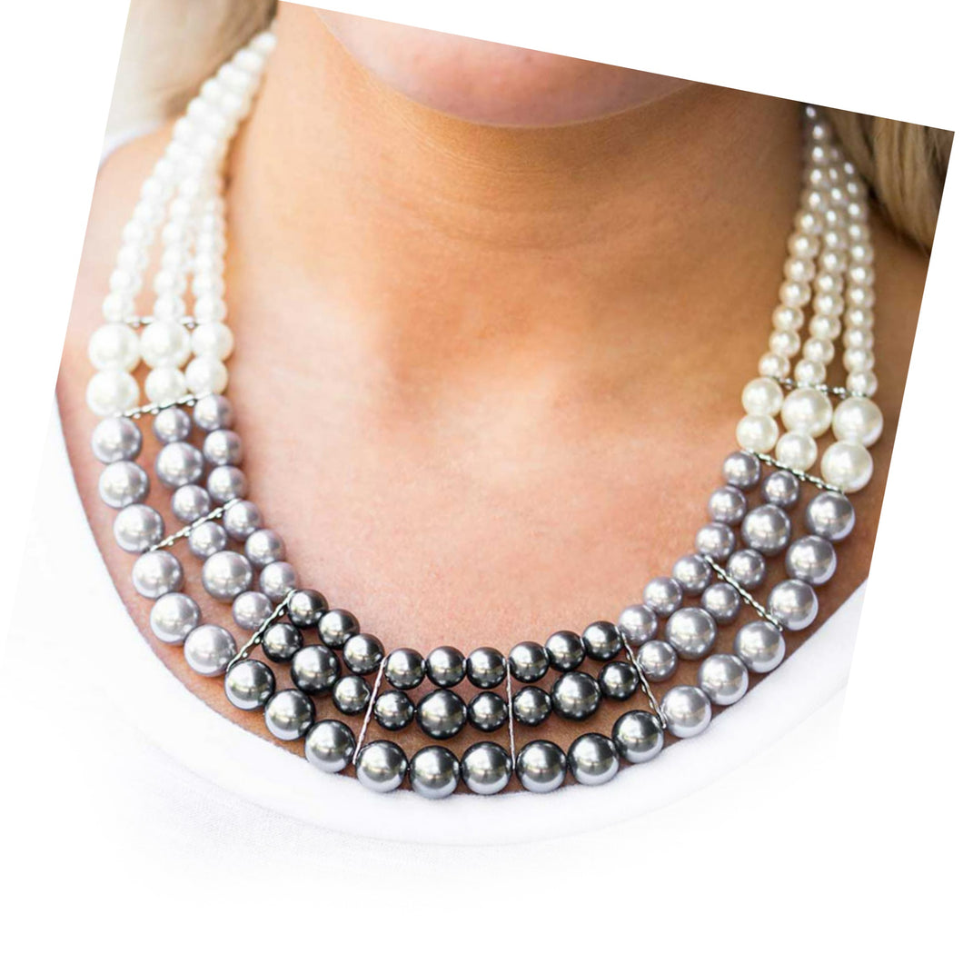 Pearl and Gray Necklace Set