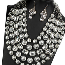 Load image into Gallery viewer, Rhinestone and Clear Gem Necklace Set