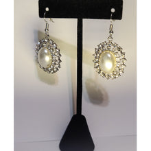 Load image into Gallery viewer, Pearl and Rhinestone Earrings