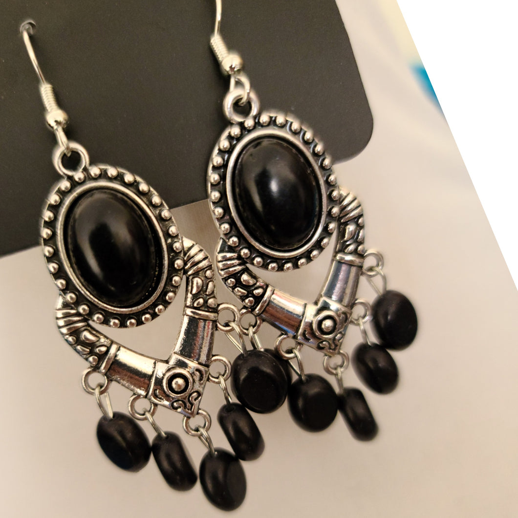 Black and Silver Fashion Drop Earrings