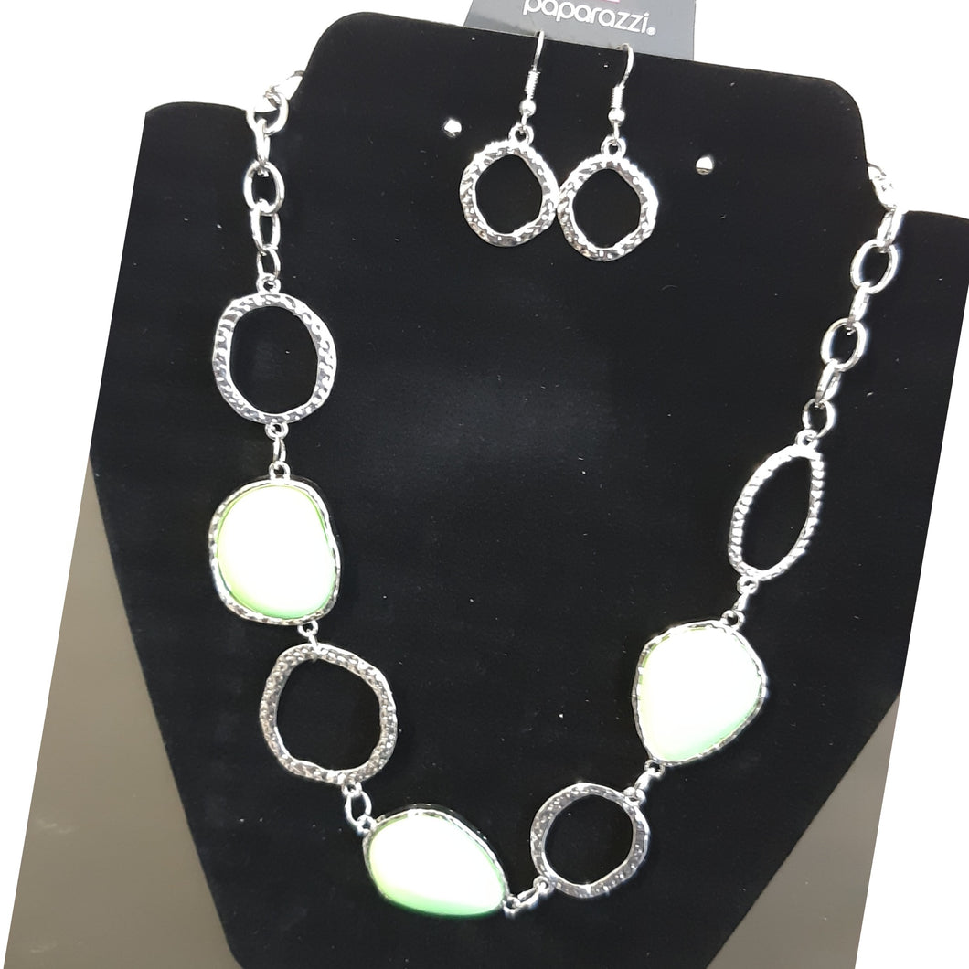 Lime Green and Silver Necklace Set