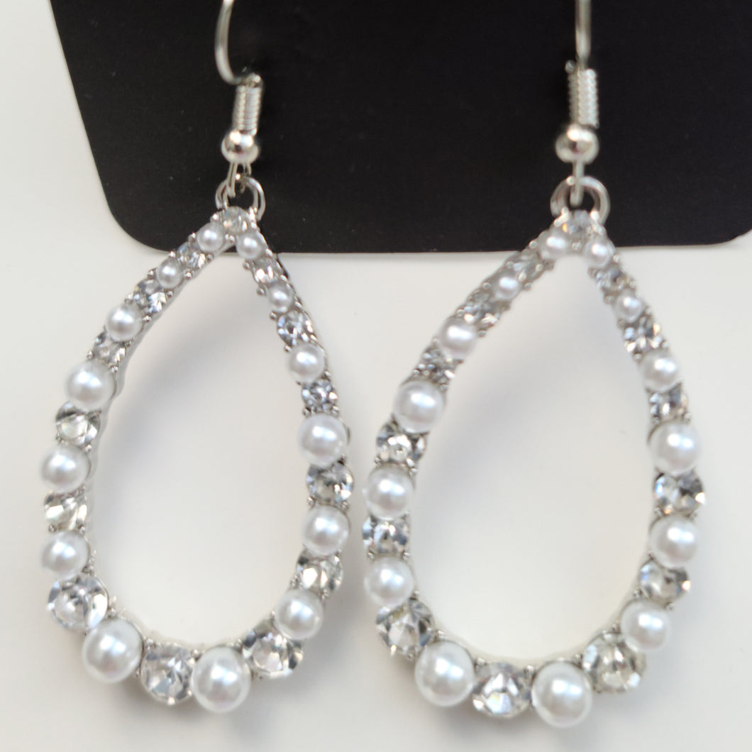Silver and Small Pearl Earrings