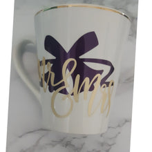 Load image into Gallery viewer, Mr. and Mrs. Wedding Bells Custom Coffee Mug with gold trim
