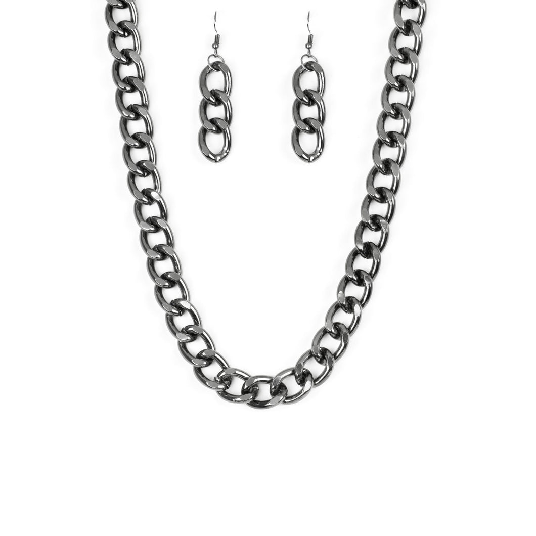 Heavyweight Blacksilver Necklace and Earring Set