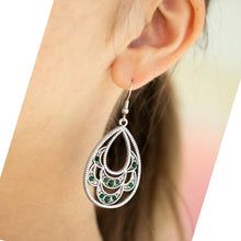 Load image into Gallery viewer, Silver Earrings with Green Accent