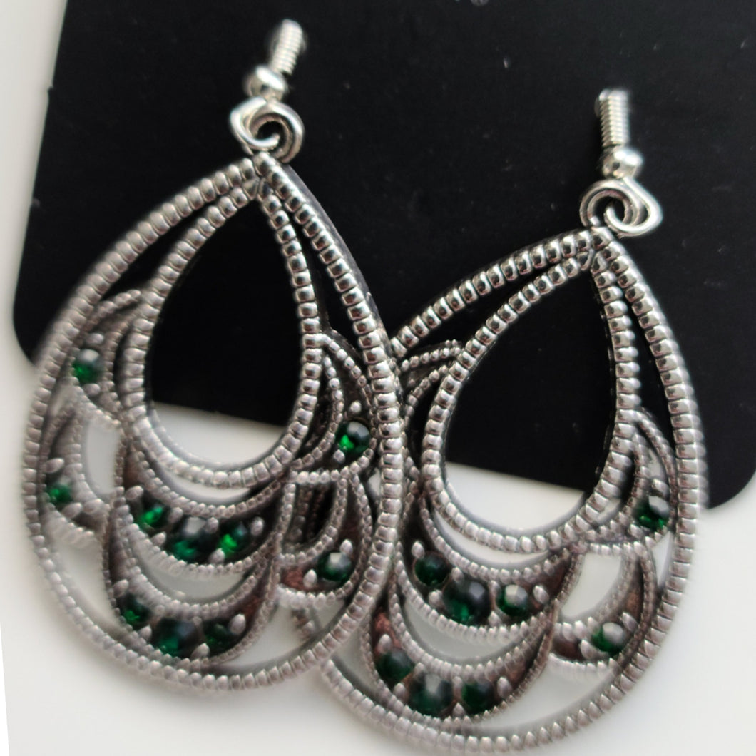 Silver Earrings with Green Accent