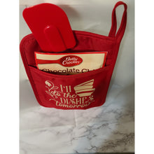 "Load image into Gallery viewer, Custom Pot Holder Kitchen Set-Red ""I'll Do the dishes tomorrow"""