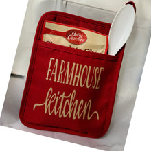 "Load image into Gallery viewer, Custom Pot Holder Kitchen Set-Red ""Farmhouse Kitchen"""