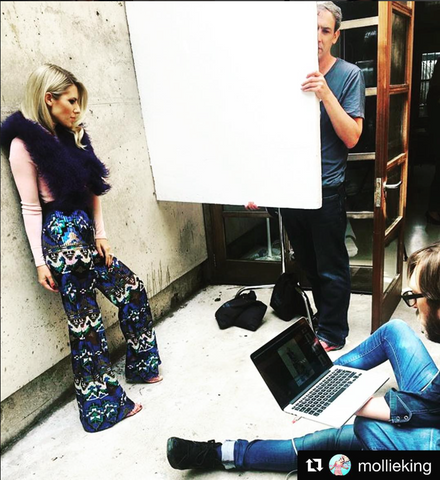Mollie King in J.KWAN, Mollie King Vegas Vibes Trousers, Sequin Trousers, Sequin Pants, Behind the Scenes, Fabulous Magazine