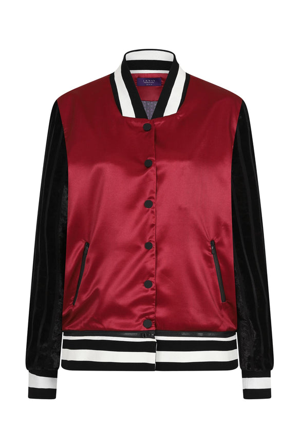 Red Satin Varsity Jacket